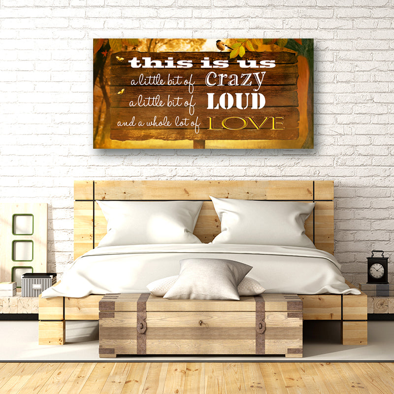 "Canvas Print Family Wall Art - Outdoor Sign Full Color ""This is Us"" - Stretched On Wood Frame."