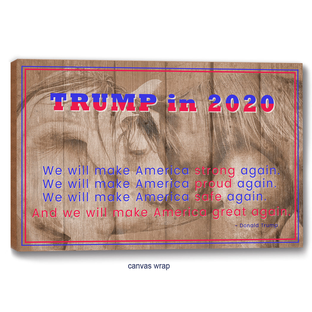 Trump 2020 Poster or Canvas Print - Horses on Wood Background