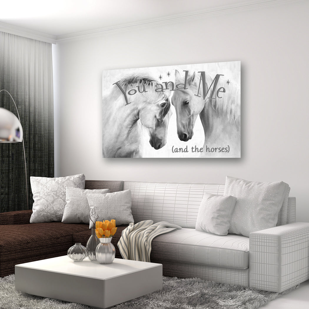"Horse Canvas Wall Art B&W ""You and Me"" - Stretched On Wood Frame, Ready To Hang!"