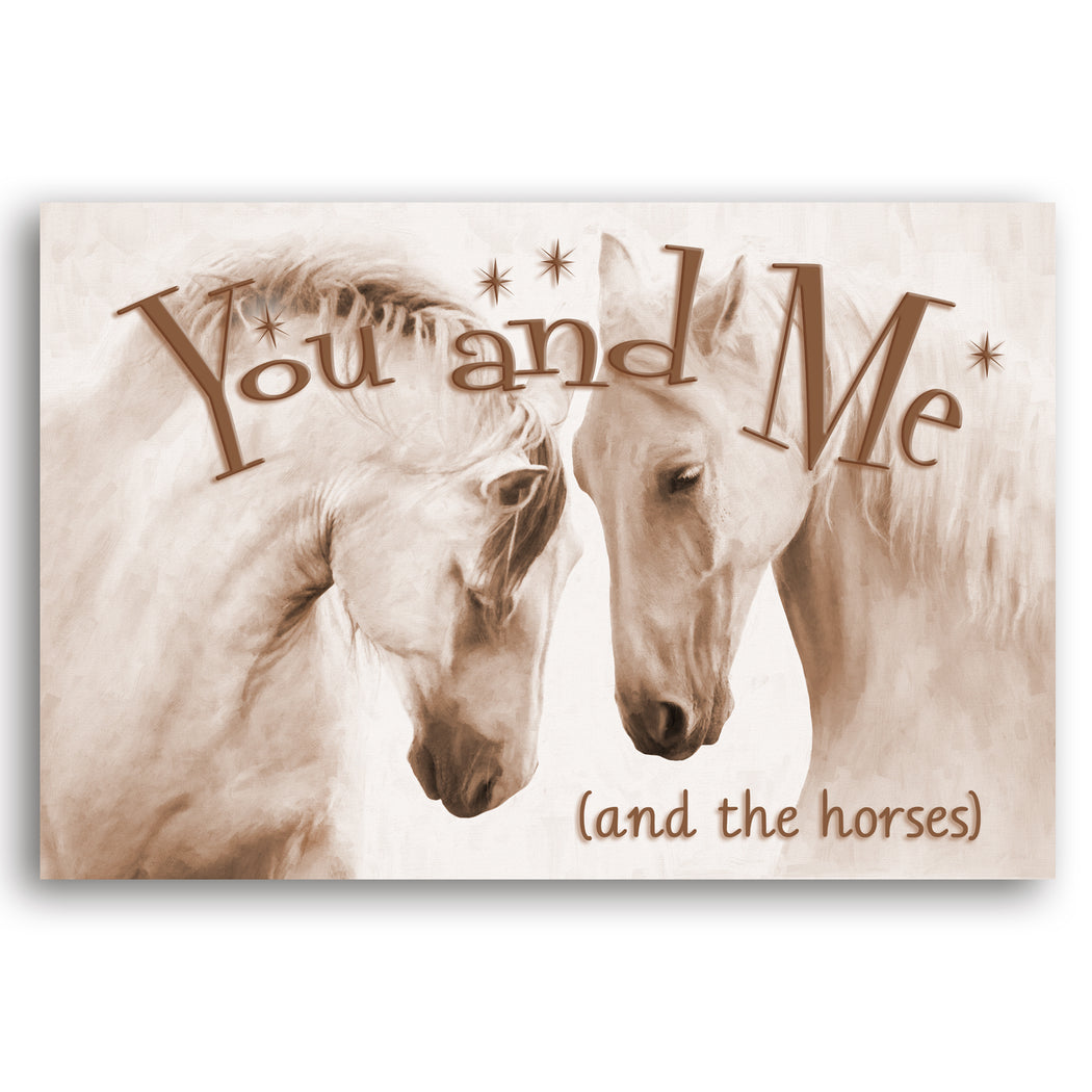 "Horse Canvas Wall Art Sepia ""You and Me"" - Stretched On Wood Frame, Ready To Hang!"