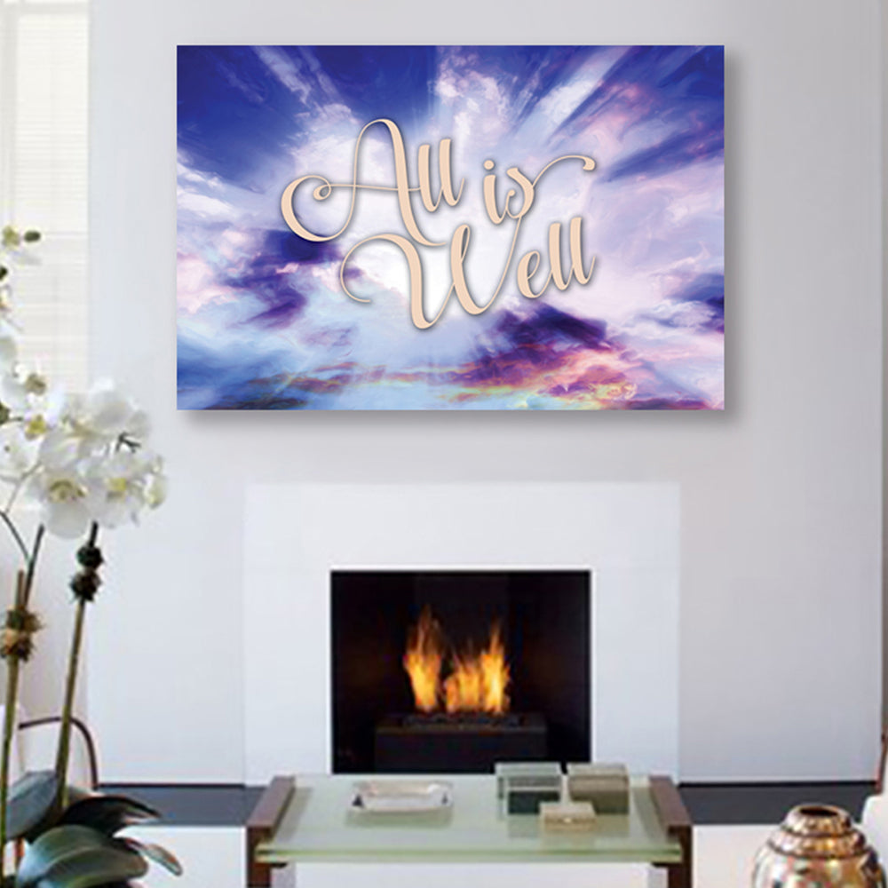 "Inspirational Canvas Wall Art - ""All is Well #1"" - Stretched On Wood Frame, Ready To Hang!"
