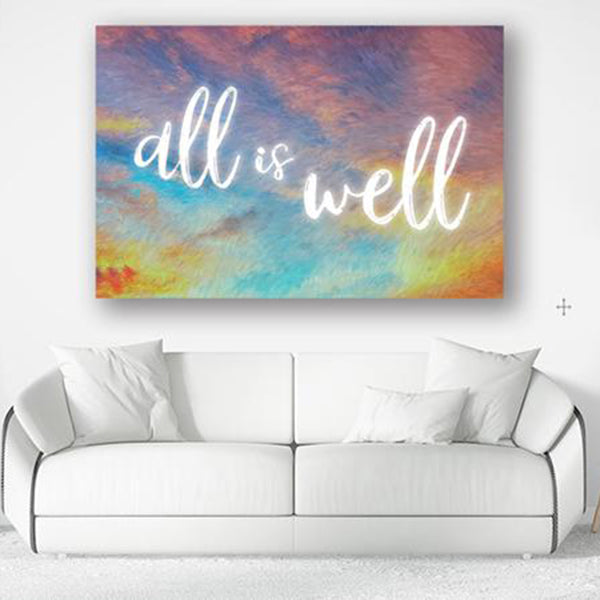 "Inspirational Canvas Wall Art - ""All is Well #3"" - Stretched On Wood Frame, Ready To Hang!"