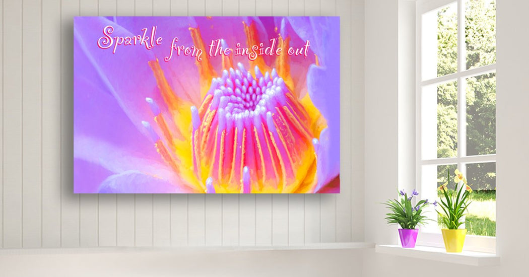 "Floral Canvas Wall Art ""Sparkle From The Inside Out"" - Stretched On Wood Frame, Ready To Hang!"