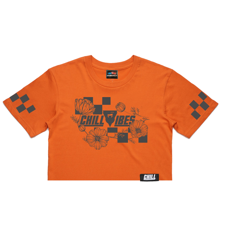 Chill Vibes Checker Pattern Orange Crop top
