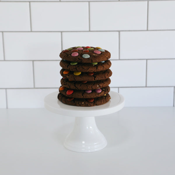 Triple Chocolate Flourless Cookie with Smarties