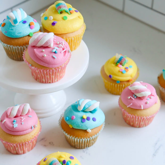 6 PARTY Cupcakes Vanilla PINK BLUE & YELLOW
