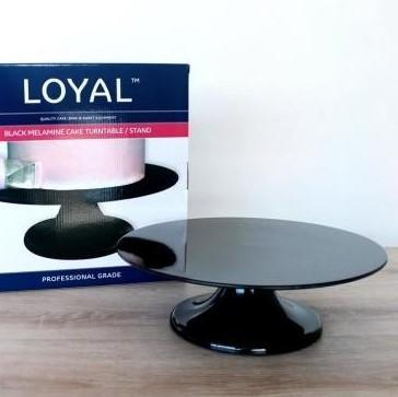 Loyal Black Melamine Cake Stand Turntable 32cm