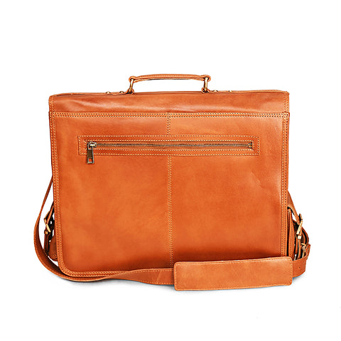 Brown Leather Dakota Two Pocket Messenger Bag