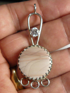 Willow Creek Cabochon pendant, SS unfinished pendant 6mm CZ.  (j8371) - designsbyshirl.com