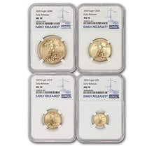 2020 4-Coin Gold American Eagle MS-70 NGC (early Releases) by CoinFolio MS70