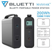 MAXOAK Generator Portable Power Station 200Wh Lithium Emergency Battery Backup Pure Sinewave 110V AC Outlet Solar Generator for Outdoor Camping Travel Fishing Hunting(w/AC, DC12V, QC3.0, USB-C)