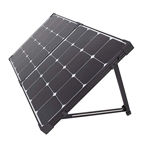 Renogy 100 Watt 12 Volt Eclipse Monocrystalline Off Grid Portable Foldable 2Pcs 50W Solar Panel Suitcase Built-in Kickstand, 100W, Black