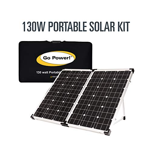 Go Power! GP-PSK-130 130W Portable Folding Solar Kit with 10 Amp Solar Controller