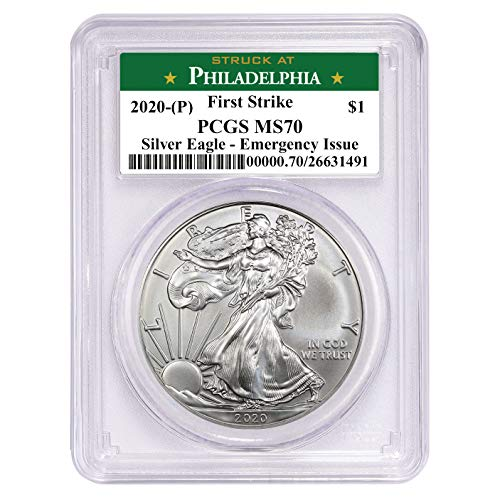 2020 (P) Struck at Philadelphia American Eagle Silver Coin 1 oz 999 Fine Silver $1 PCGS MS70 First Strike New