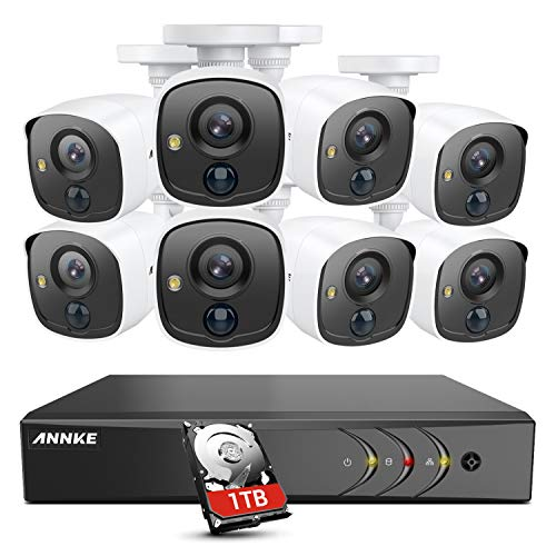 ANNKE 8 Camera Security System 8CH 5MP H.265+ DVR and 8×1080P HD Weatherproof Bullet CCTV Cameras, PIR Detection, White Light Alarm, Email Alert with Snapshots, 1TB Surveillance Hard Drive