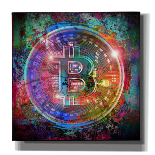 Epic Graffiti Bitcoin Wallet Giclee Canvas Wall Art, Purple