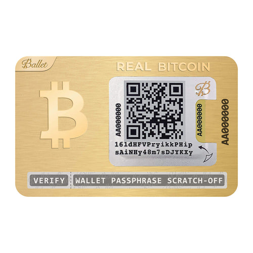 Ballet 5-Pack Real Bitcoin, 24K Gold-Plated - Physical Cryptocurrency Wallet with Multicurrency Support, Stainless Steel