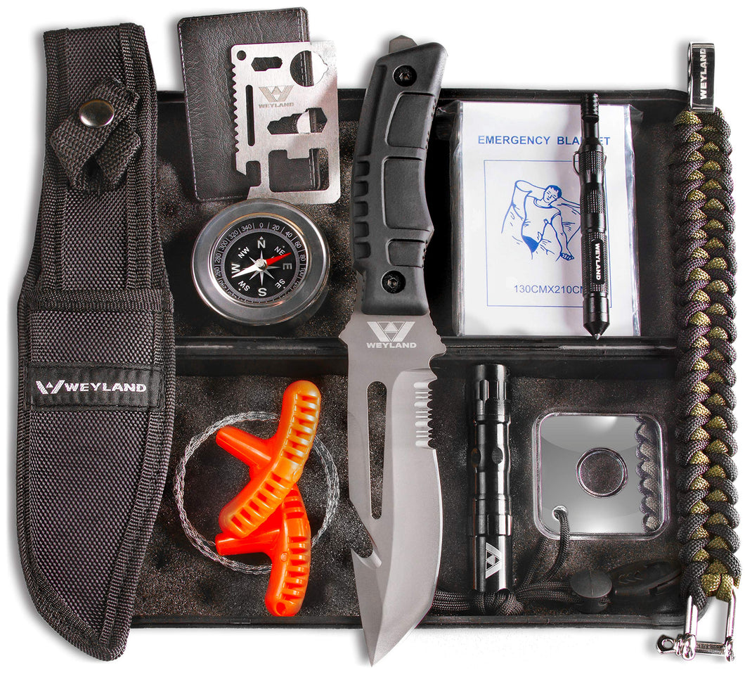 WEYLAND Survival Kit - Emergency Survival Gear and Equipment with Survival Knife, Hiking and Camping Essentials, Outdoor Tactical Bushcraft Gear, Bug Out Bag Supplies, Bugout Backpack Tools for Men