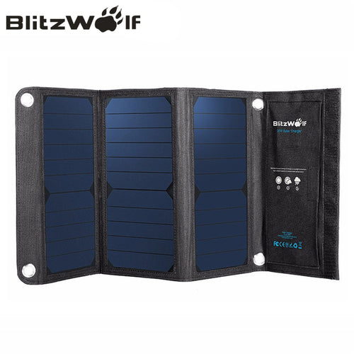 BlitzWolf Portable Solar Power Bank Charger Solar Panel Mobile Phone Charger For iPhone 7, 6s, 6