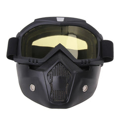 Motorcycle Goggles Mask w/Detachable Protective Sunglasses
