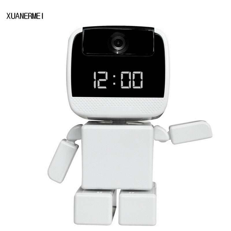 IP Camera Wi-Fi Baby monitor - Home Security Robot Cam with LED Display Clock