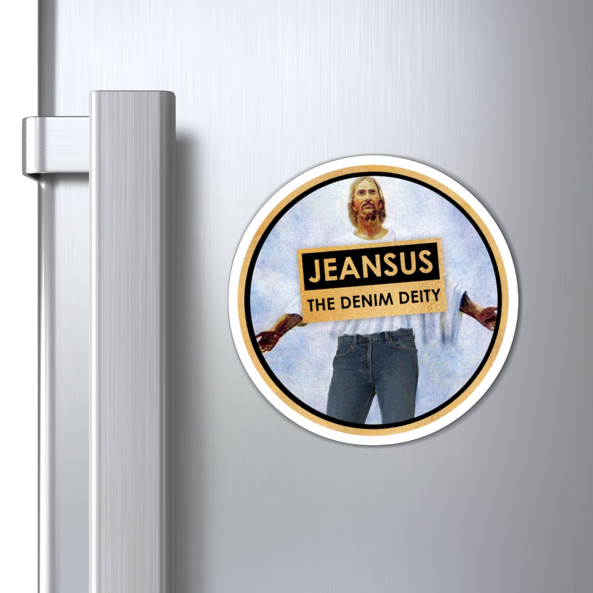 """Jeansus: The Denim Deity"" Magnet"