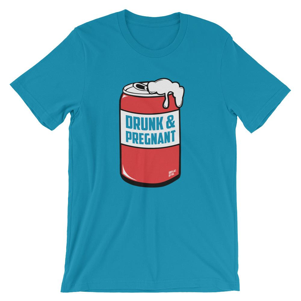 """Drunk & Pregnant"" - Unisex short sleeve t-shirt (Red Can)"