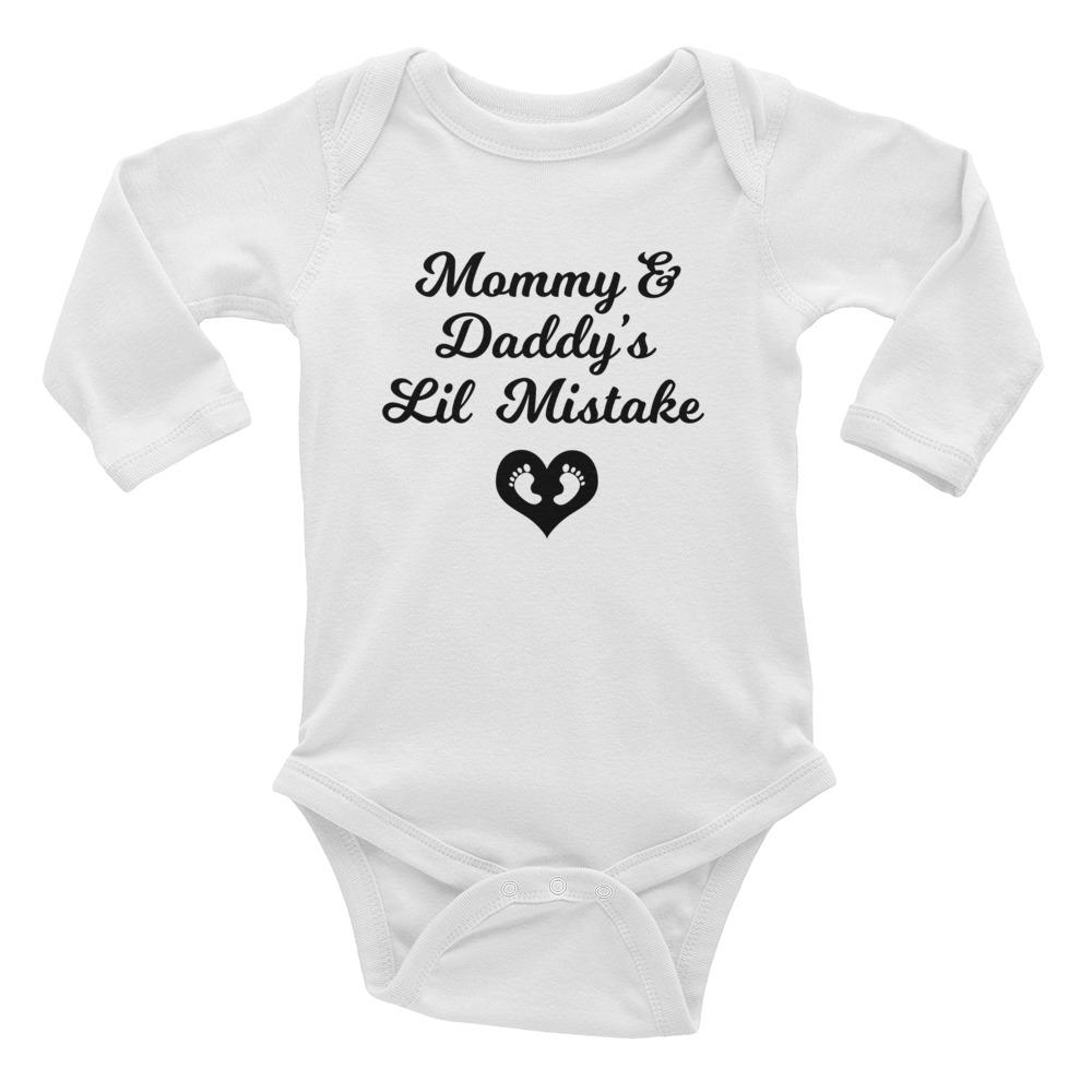 """Mommy & Daddy's Lil Mistake"" Long Sleeve Onesie"