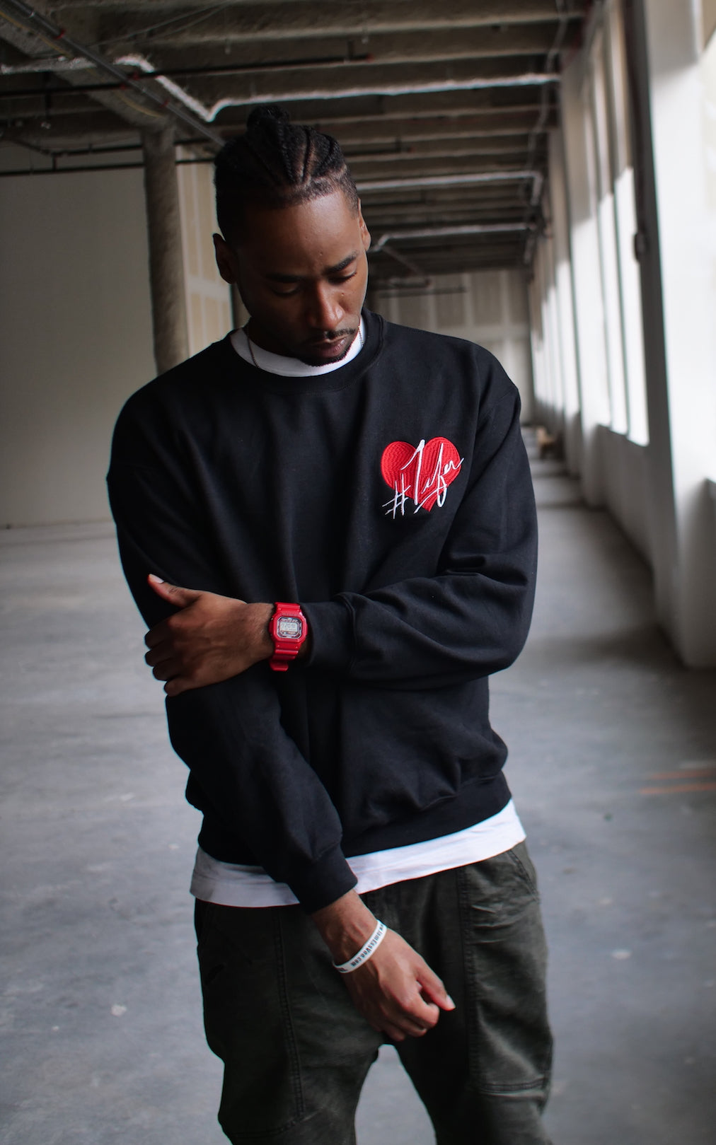1Lifer Love Embroidered Sweatshirt (blk)