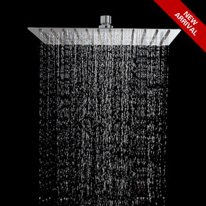 STARBATH 12 Inch Rain Shower Head Square High Pressure Ultra Thin Rainfall  Showerhead Stainless Steel With