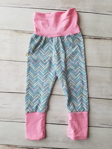 Pink Herringbone Grow With Me Pants