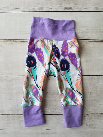 Purple Feather Grow With Me Pants