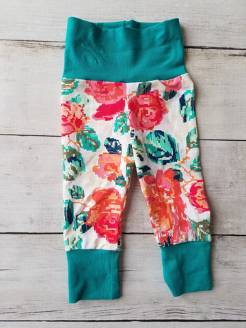 Teal Floral Grow With Me Pants