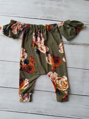 Olive Floral Cold Shoulder Romper