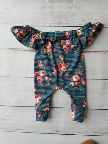 Hunter Dot Floral Cold Shoulder Romper