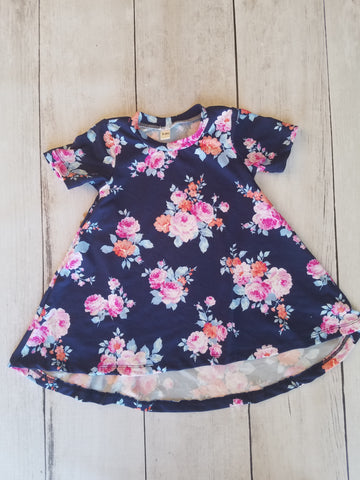 Blue, Purple, Pink Floral Hi-Lo Dress