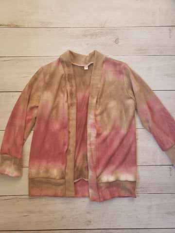 Pink and Brown Tie Dye Cardigan