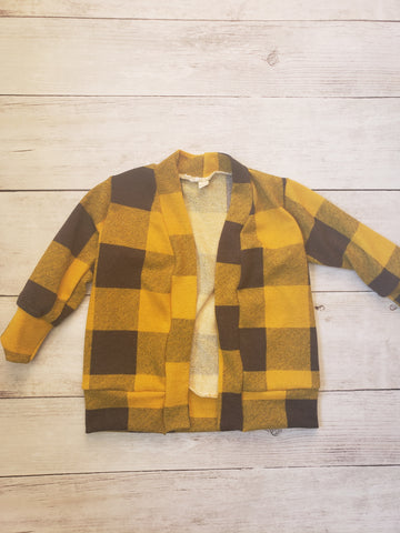 Mustard and Charcoal Plaid Cardigan