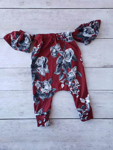 Burgundy and Gray Floral Cold Shoulder Romper