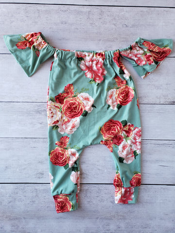 Mint Floral Cold Shoulder Romper