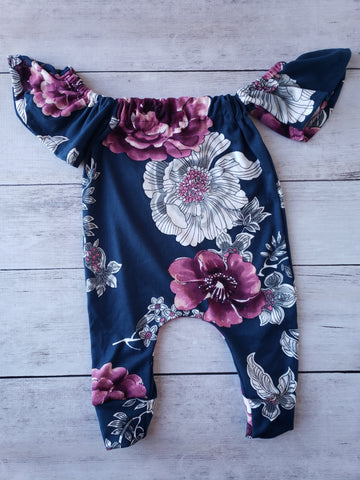 Navy and Purple Floral Cold Shoulder Romper