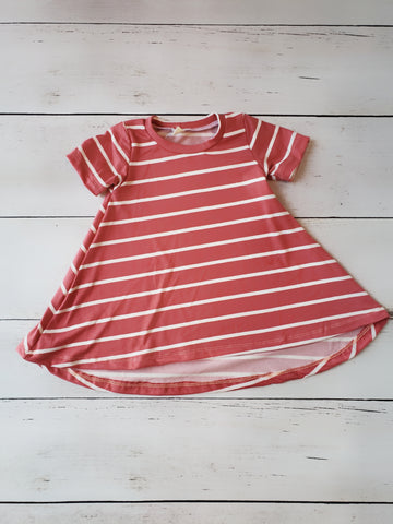 Coral Stripe Hi-Lo Dress