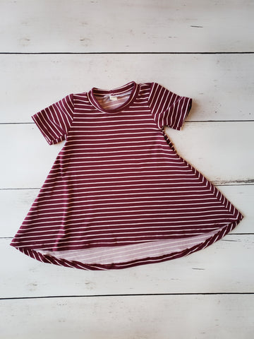 Burgundy Stripe Hi-Lo Dress