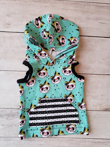 Girl Hipster Panda Hooded Tank