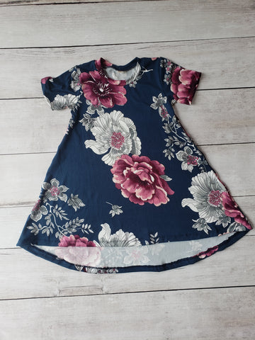 Navy & Maroon Floral Hi-Lo Dress