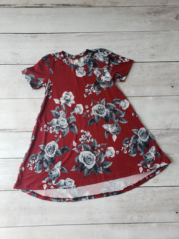 Maroon & Charcoal Floral Hi-Lo Dress