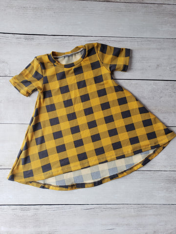 Mustard Plaid Hi-Lo Dress