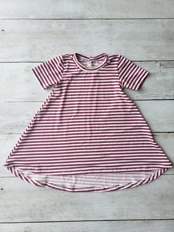 Magenta Stripes Hi-Lo Dress