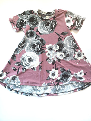 Basic Dress Mauve & Charcoal Floral