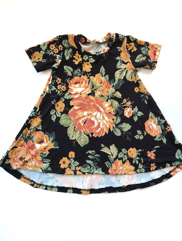 Basic Dress Black & Peach Floral